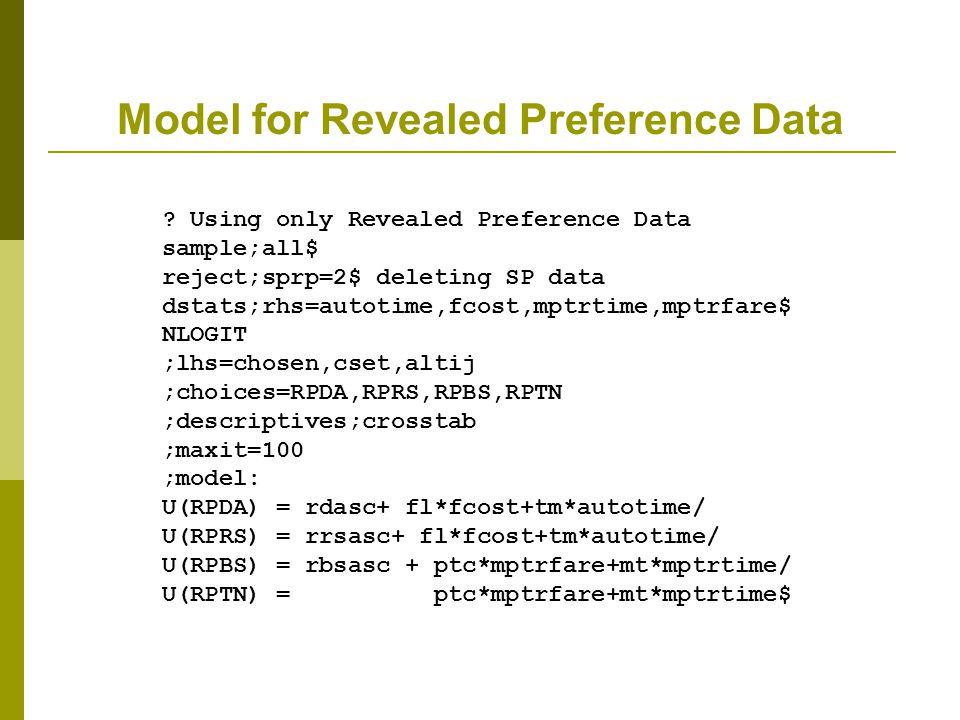Model for Revealed Preference Data