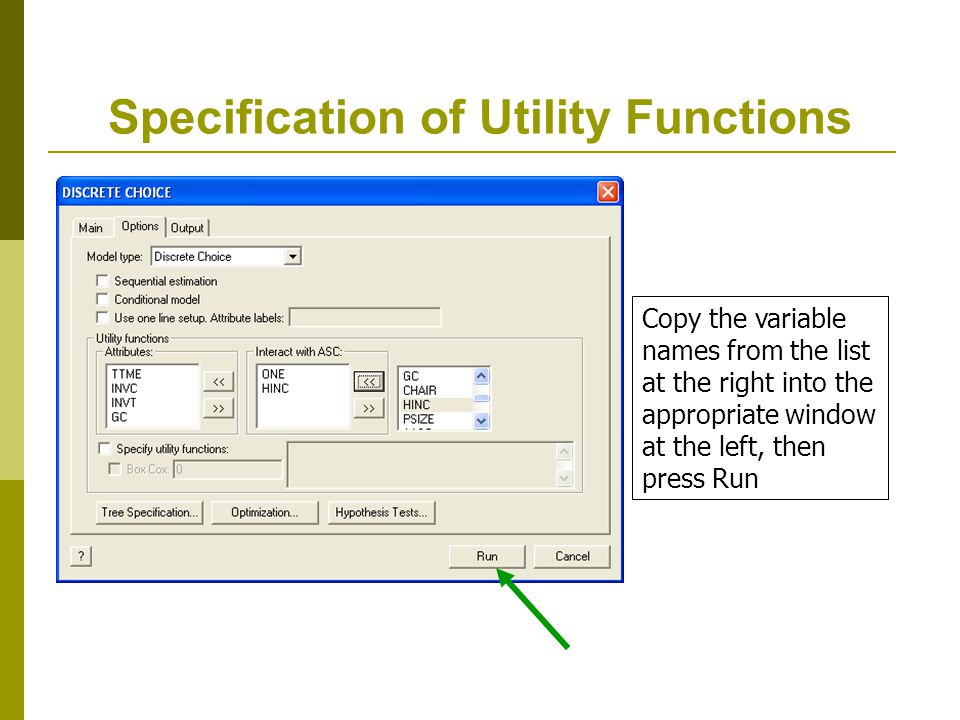 Specification of Utility Functions
