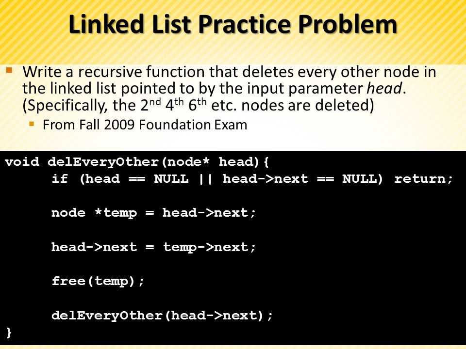 Linked List Practice Problem
