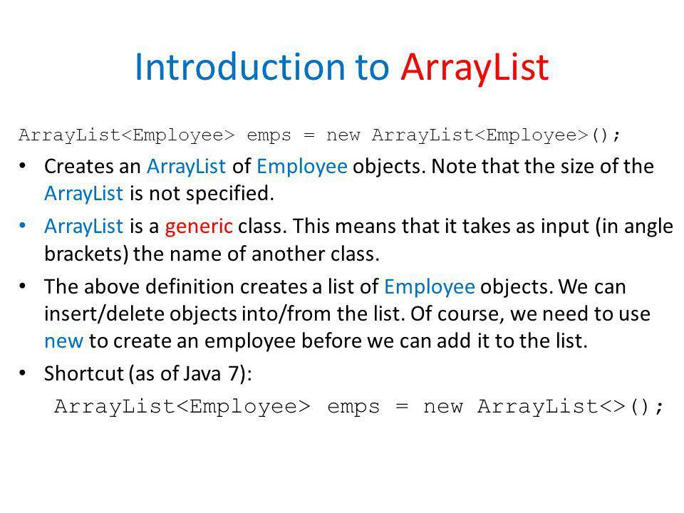 Introduction to ArrayList