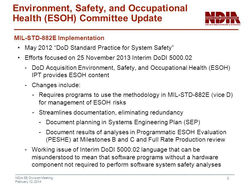 Environment, Safety, and Occupational Health (ESOH) Committee Update