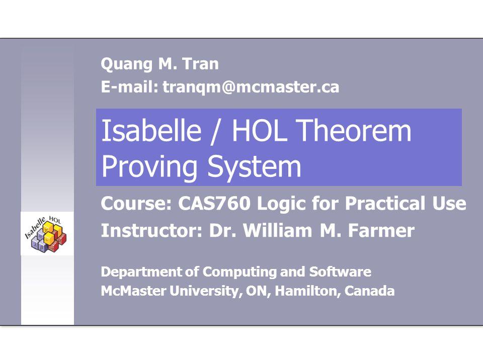 Isabelle / HOL Theorem Proving System