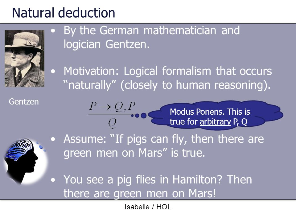 Natural deduction By the German mathematician and logician Gentzen.