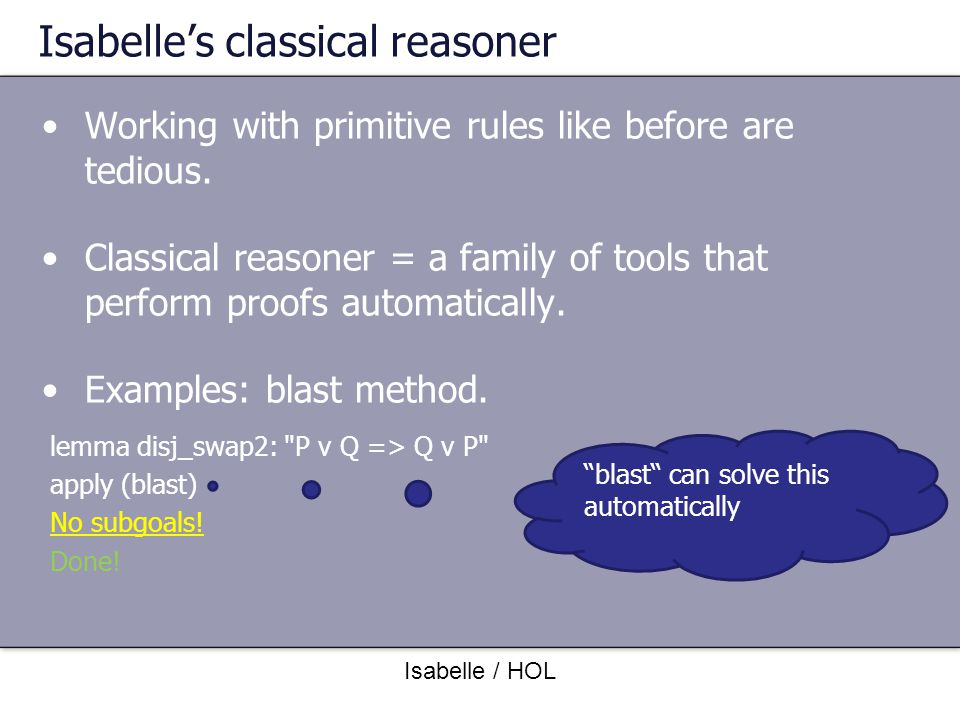 Isabelle's classical reasoner