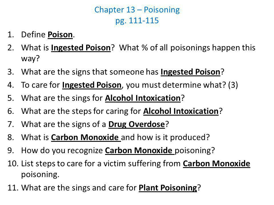 Chapter 13 – Poisoning pg. 111-115