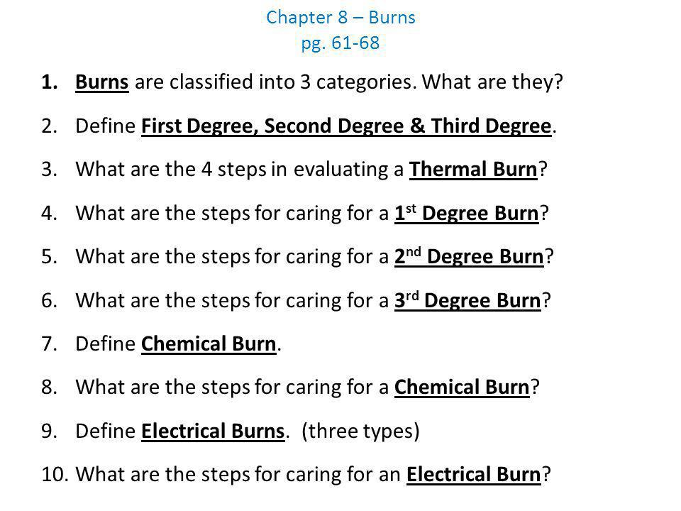 Burns are classified into 3 categories. What are they