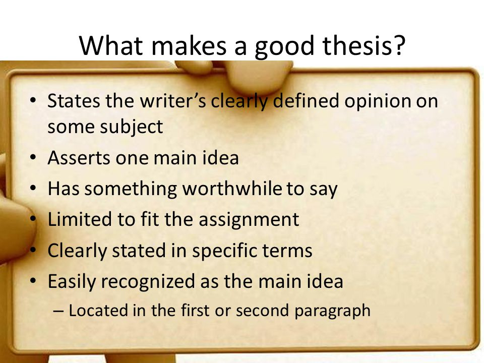 what makes a good thesis question A thesis statement presents the position that you intend to argue within your paper, whereas a research question indicates your direction of inquiry in your research.