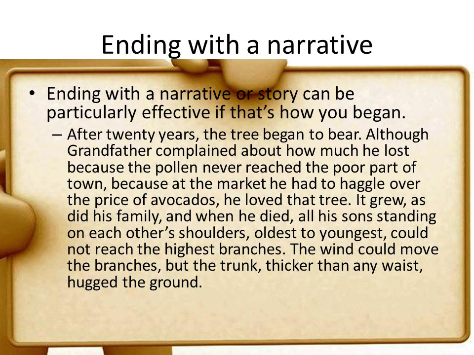 Ending with a narrative