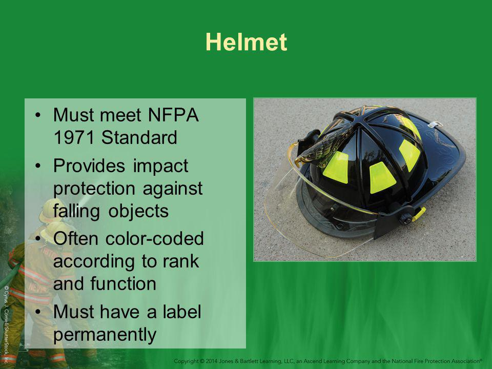 Helmet Must meet NFPA 1971 Standard