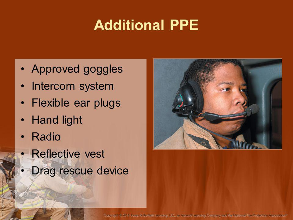 Additional PPE Approved goggles Intercom system Flexible ear plugs