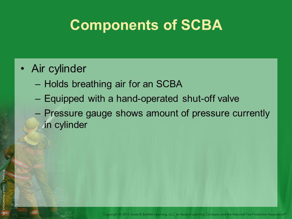 Components of SCBA Air cylinder Holds breathing air for an SCBA