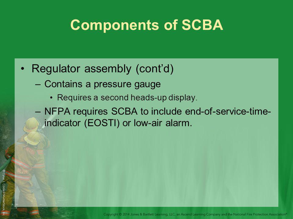 Components of SCBA Regulator assembly (cont'd)