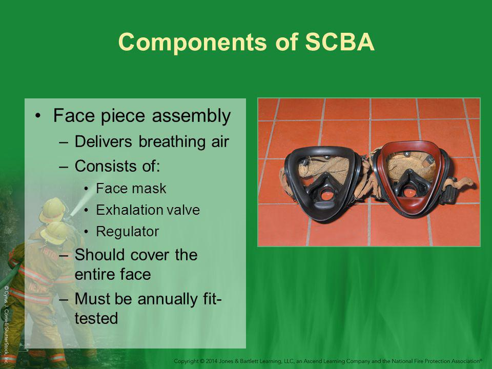 Components of SCBA Face piece assembly Delivers breathing air