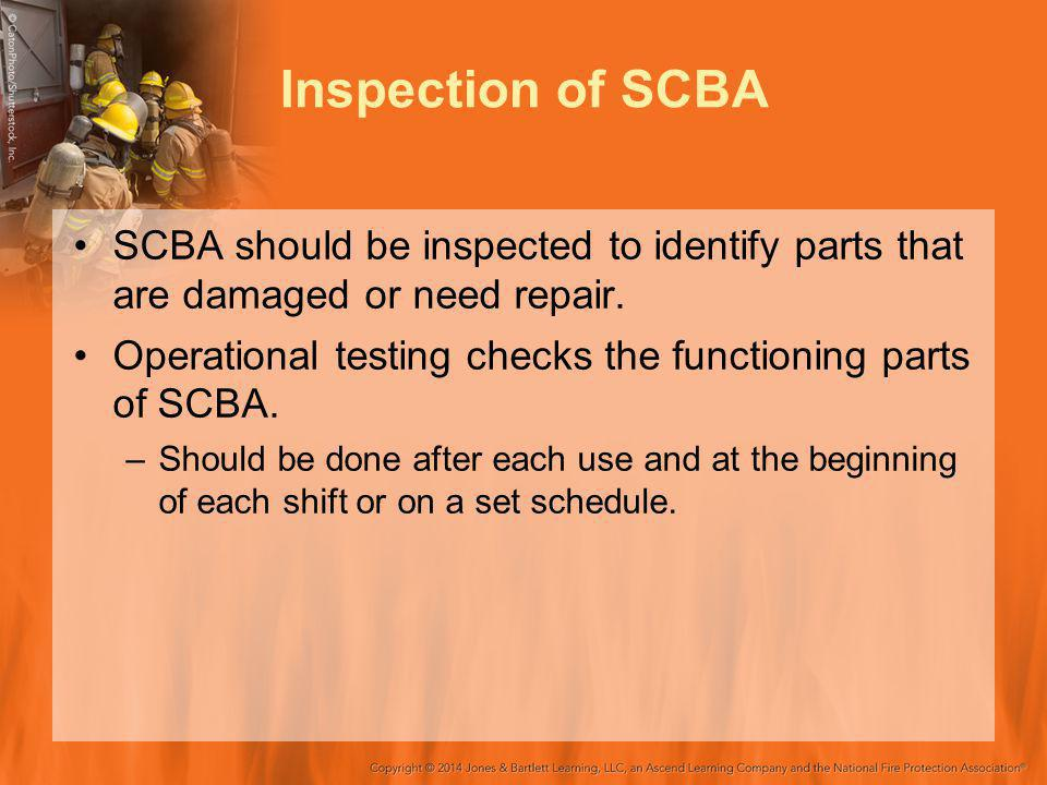 Inspection of SCBA SCBA should be inspected to identify parts that are damaged or need repair.