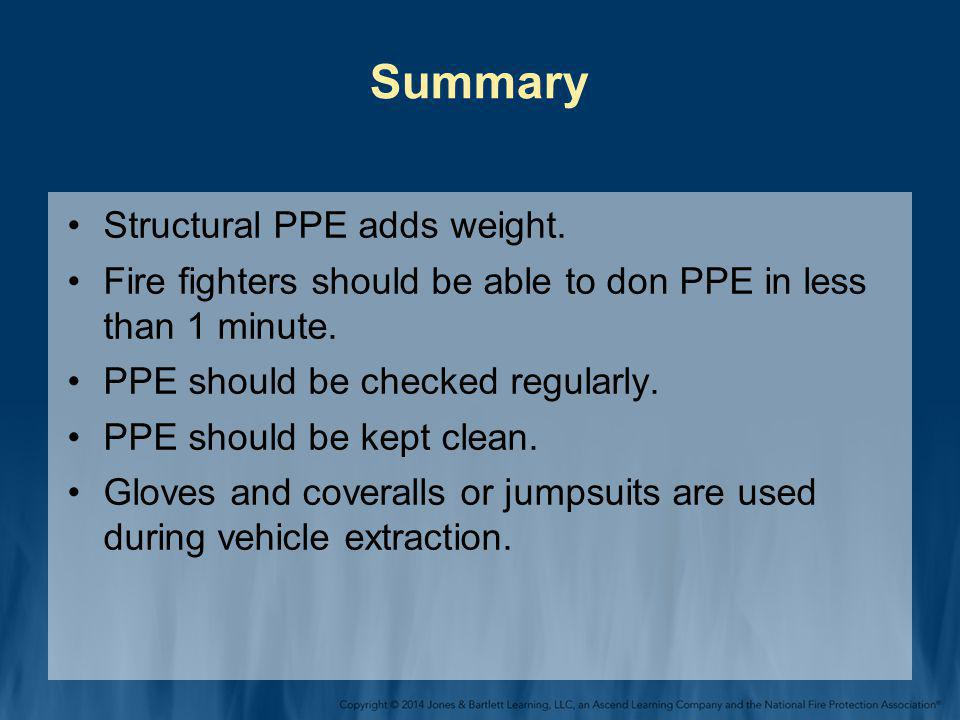 Summary Structural PPE adds weight.