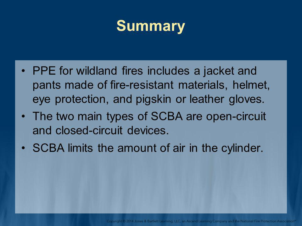 Summary PPE for wildland fires includes a jacket and pants made of fire-resistant materials, helmet, eye protection, and pigskin or leather gloves.