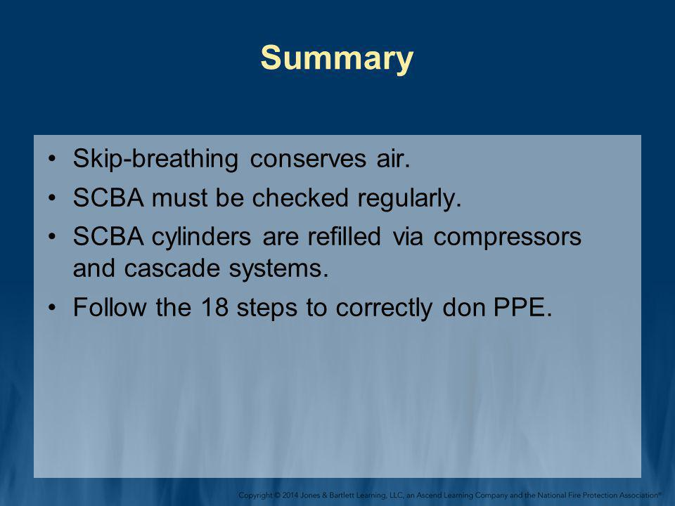 Summary Skip-breathing conserves air. SCBA must be checked regularly.