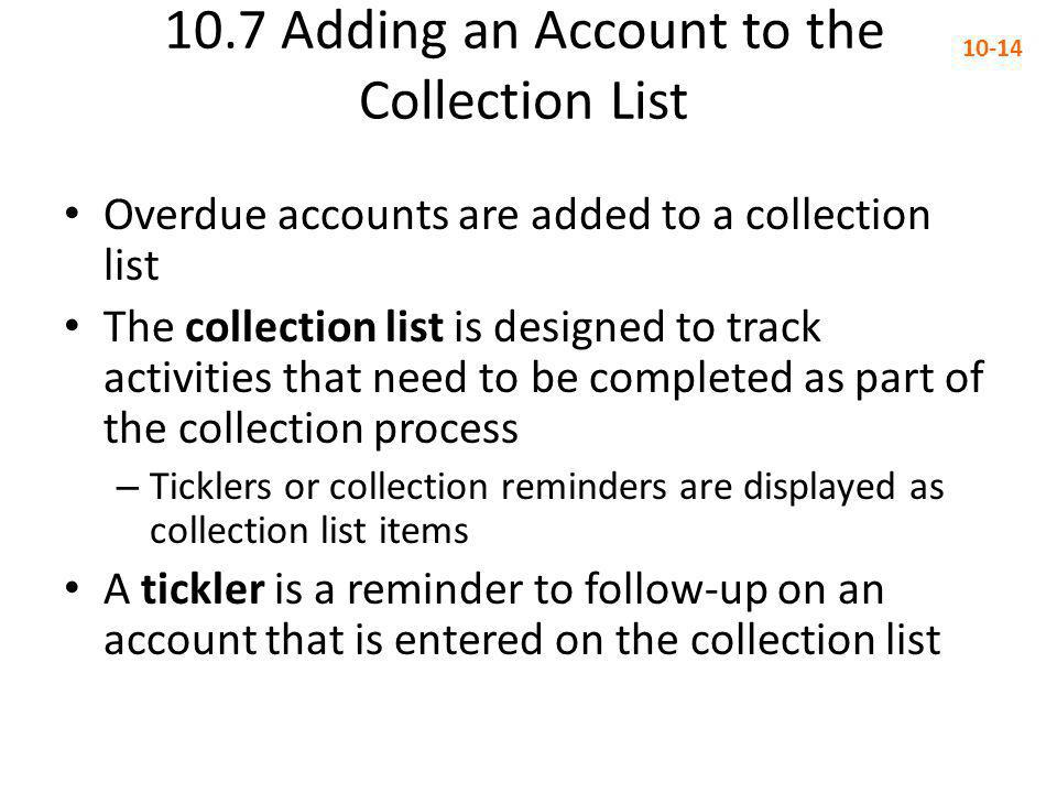 10.7 Adding an Account to the Collection List