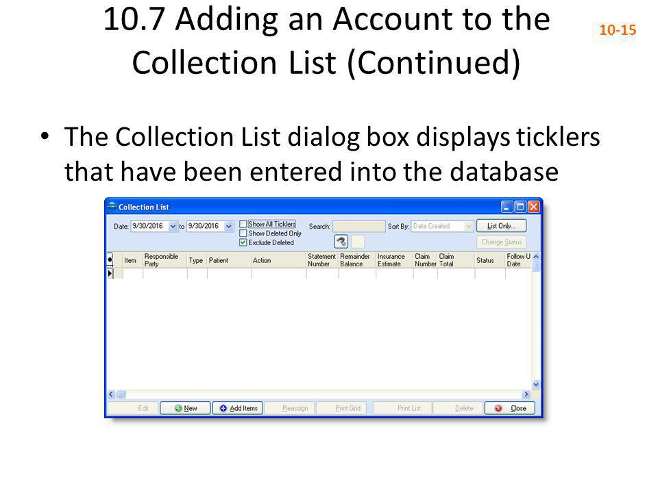 10.7 Adding an Account to the Collection List (Continued)