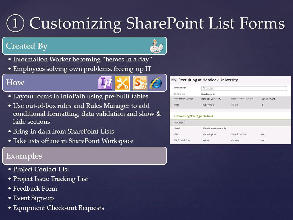 ① Customizing SharePoint List Forms