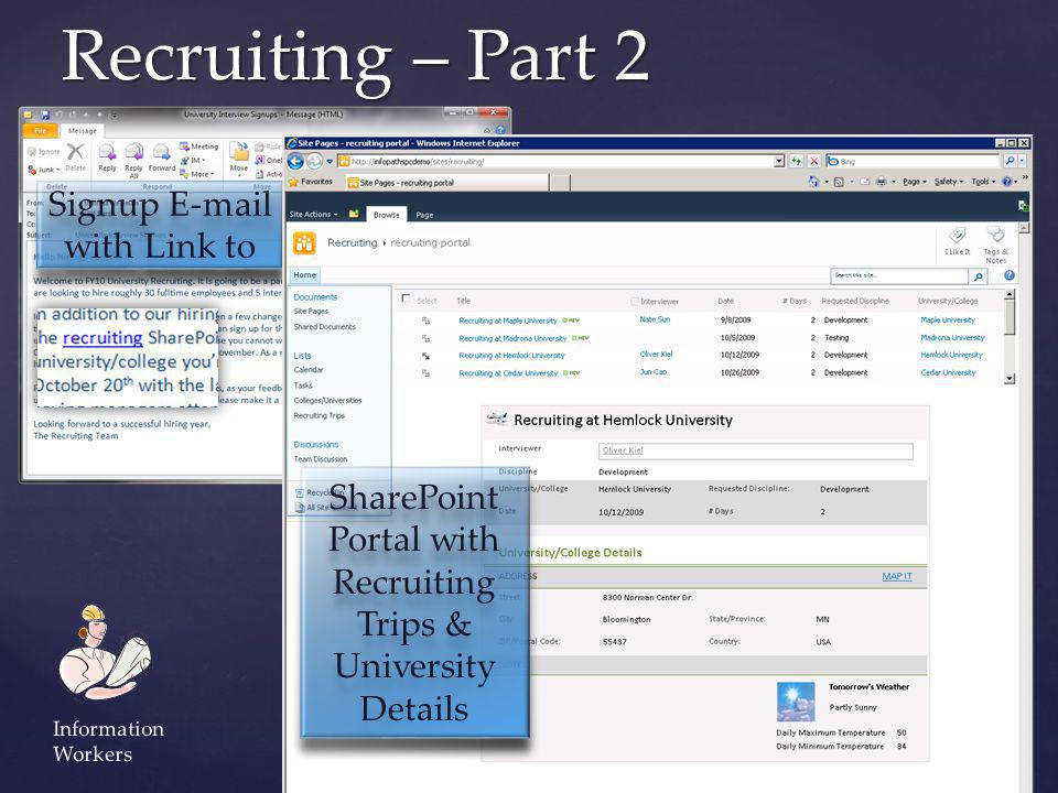 Recruiting – Part 2 Signup E-mail with Link to SharePoint Portal with