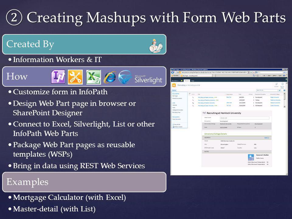 ② Creating Mashups with Form Web Parts