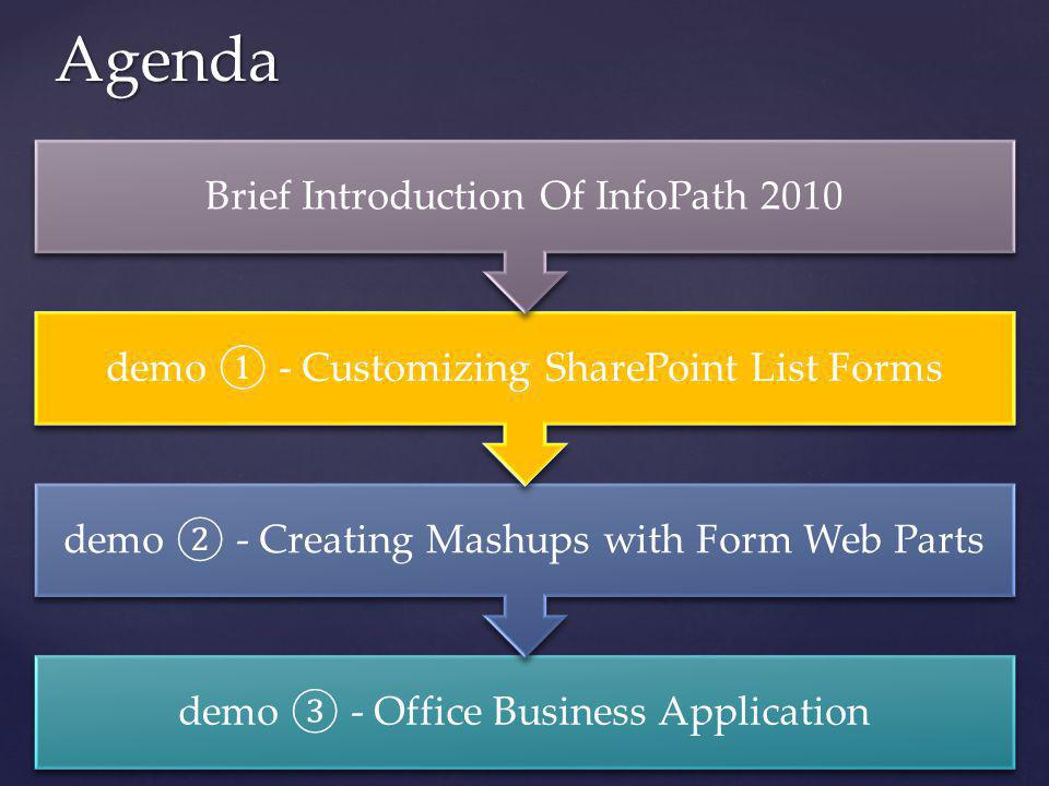 Agenda Brief Introduction Of InfoPath 2010
