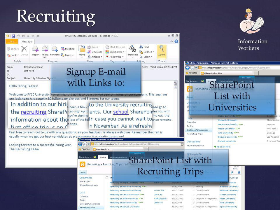 Recruiting Signup E-mail with Links to: SharePoint List with