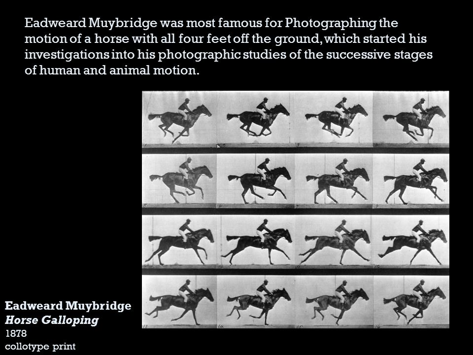 Eadweard Muybridge was most famous for Photographing the motion of a horse with all four feet off the ground, which started his investigations into his photographic studies of the successive stages of human and animal motion.