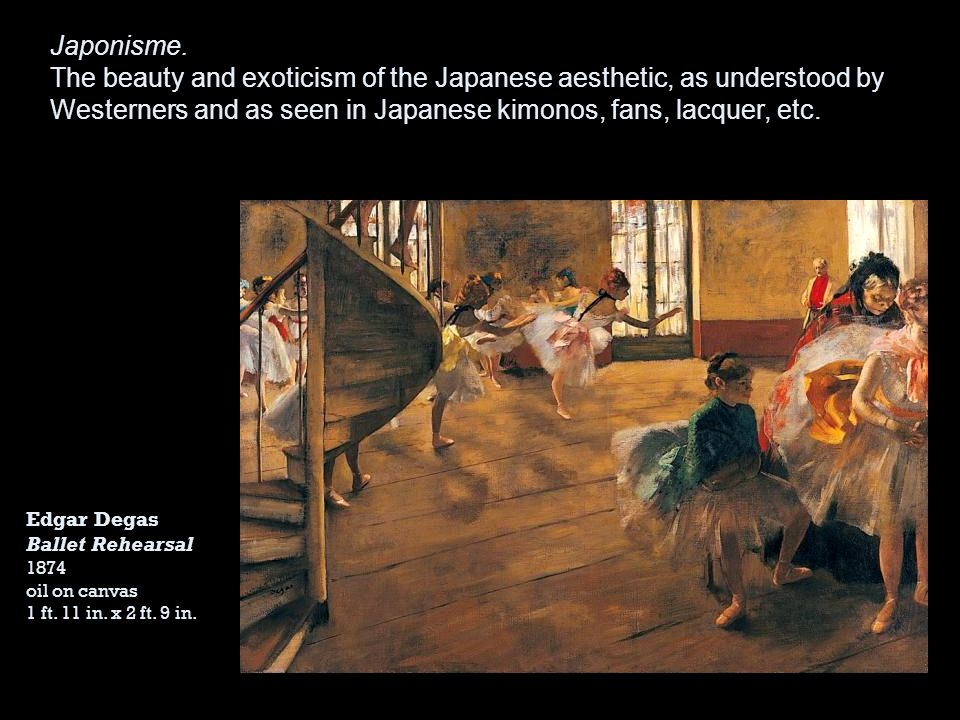 Japonisme. The beauty and exoticism of the Japanese aesthetic, as understood by Westerners and as seen in Japanese kimonos, fans, lacquer, etc.