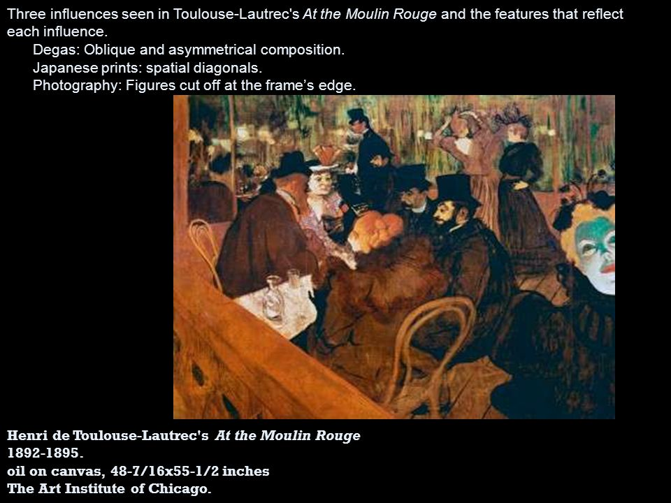 Three influences seen in Toulouse‑Lautrec s At the Moulin Rouge and the features that reflect each influence.