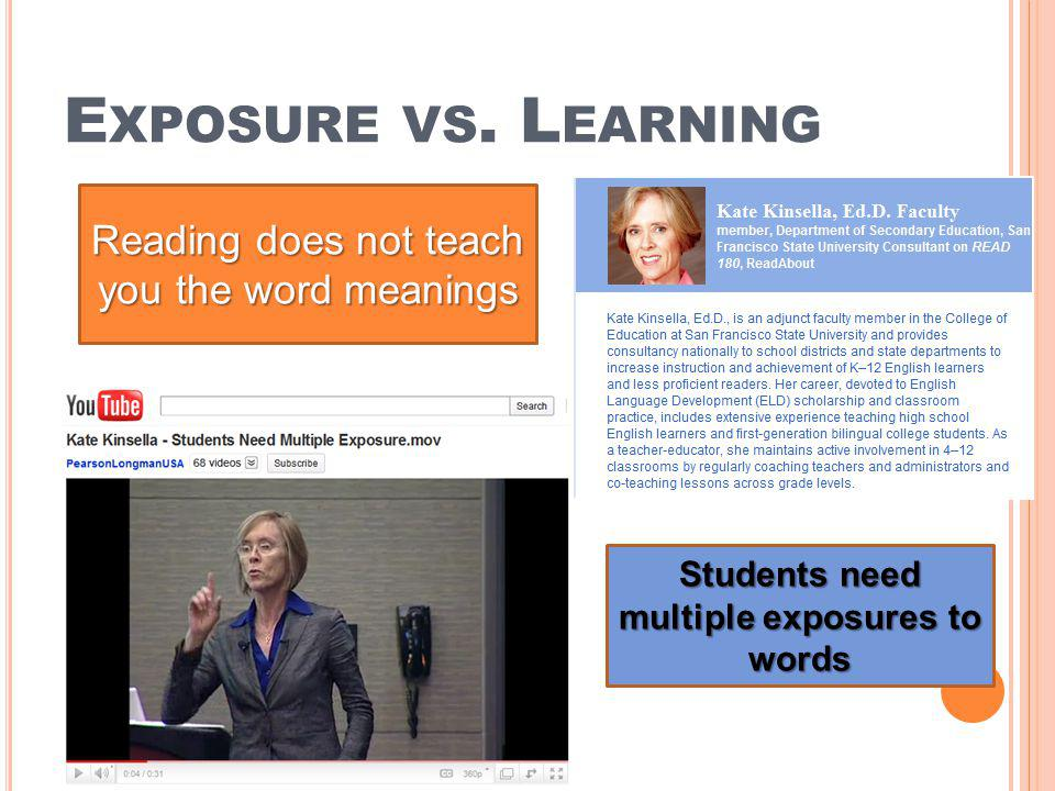 Students need multiple exposures to words