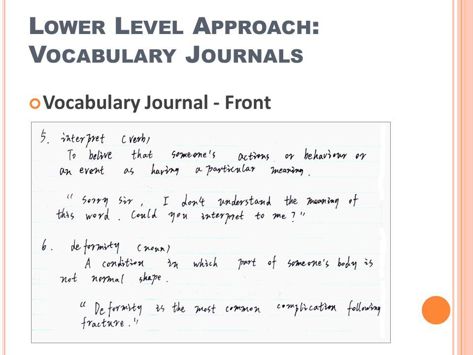 Lower Level Approach: Vocabulary Journals