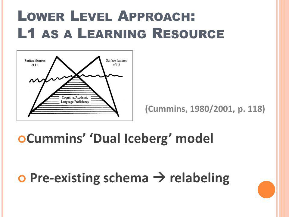 Lower Level Approach: L1 as a Learning Resource