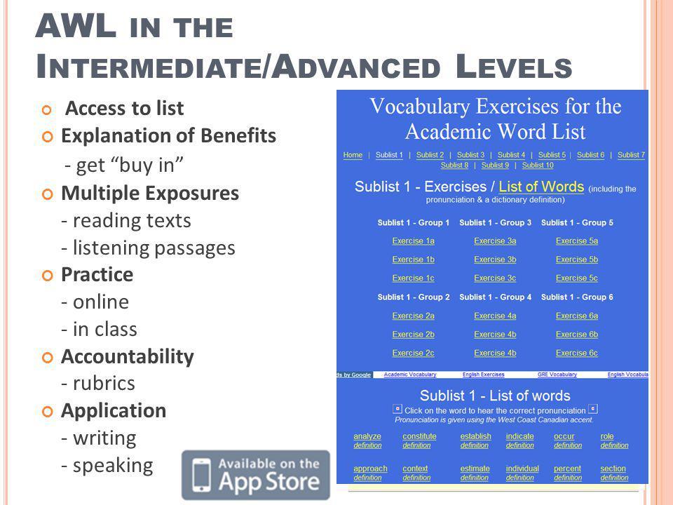 AWL in the Intermediate/Advanced Levels