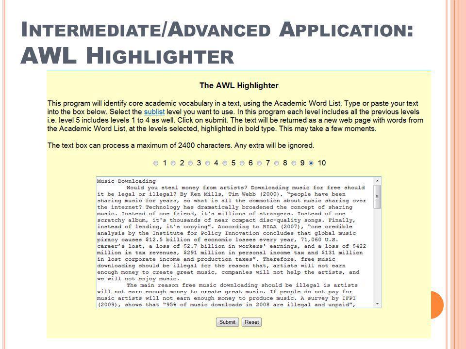 Intermediate/Advanced Application: AWL Highlighter