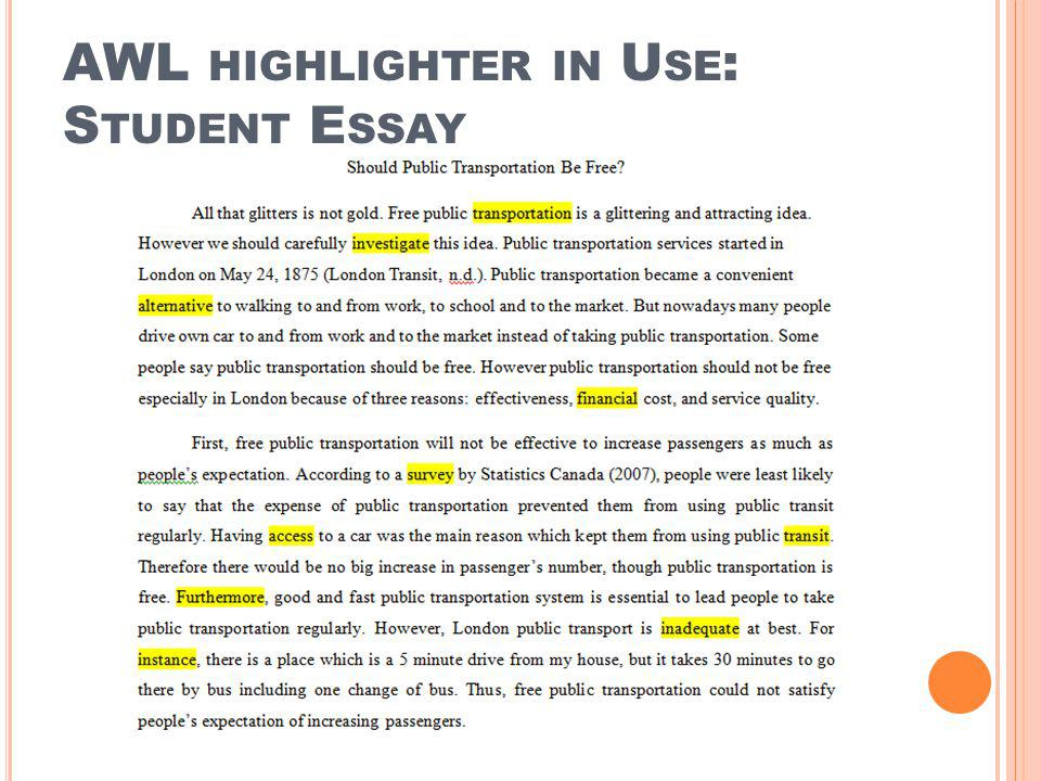 AWL highlighter in Use: Student Essay