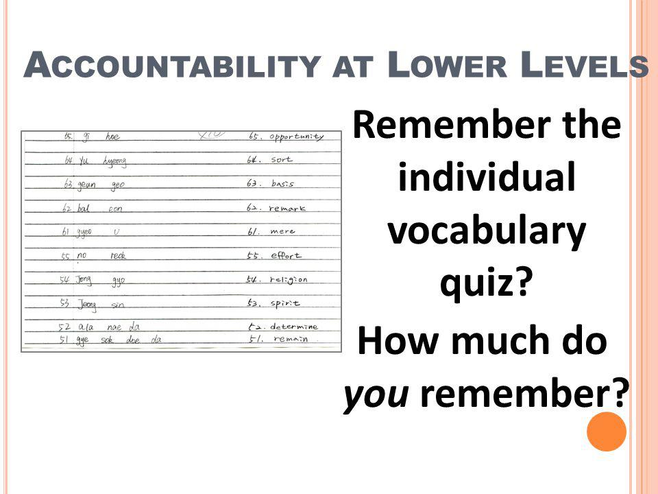 Accountability at Lower Levels