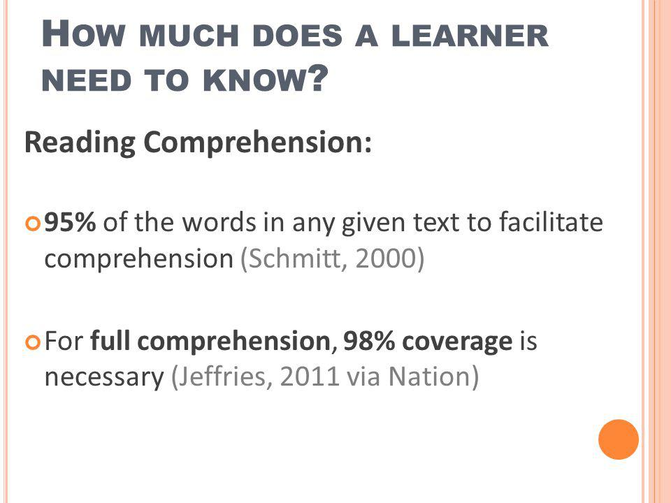 How much does a learner need to know