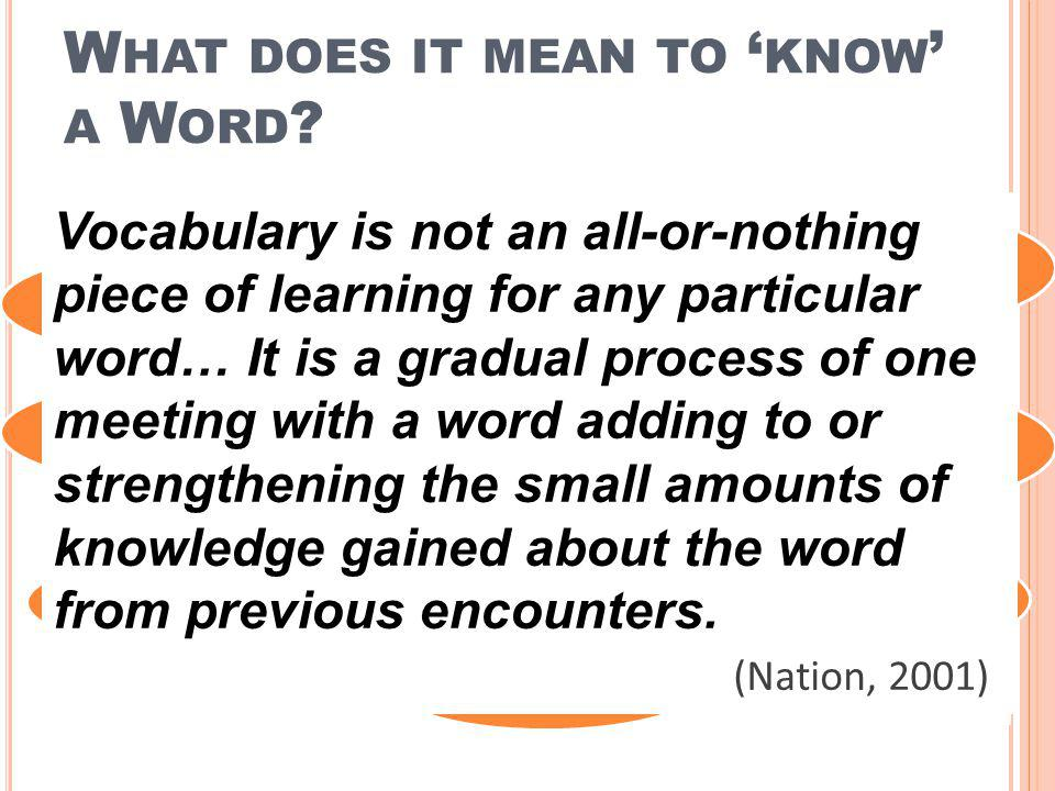 What does it mean to 'know' a Word