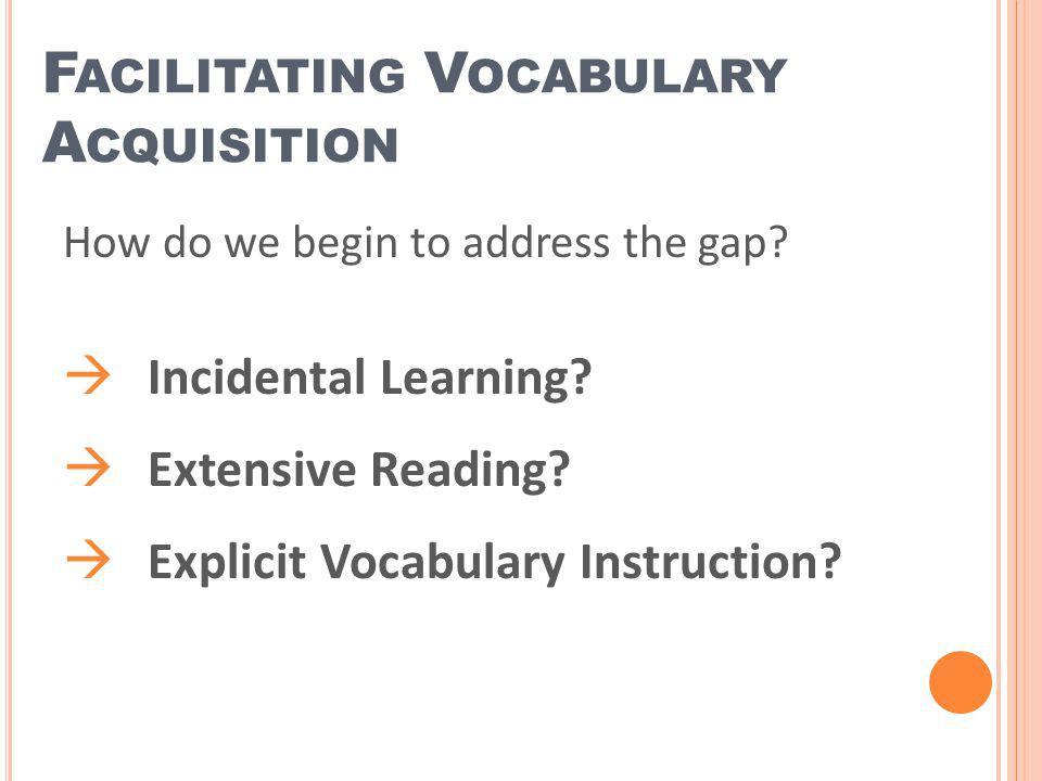 Facilitating Vocabulary Acquisition