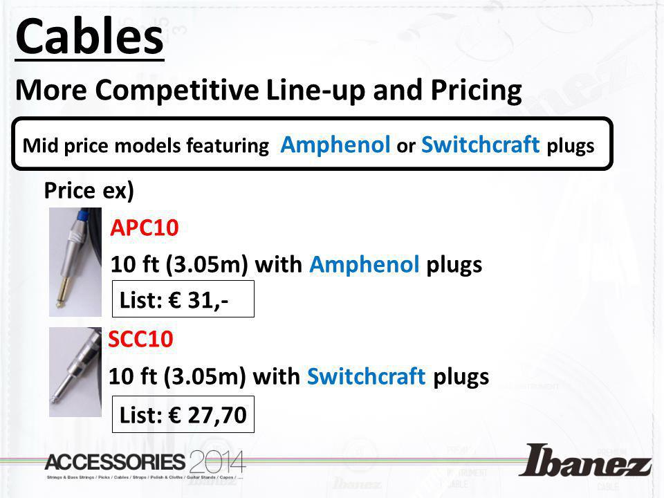 Cables More Competitive Line-up and Pricing Price ex) APC10