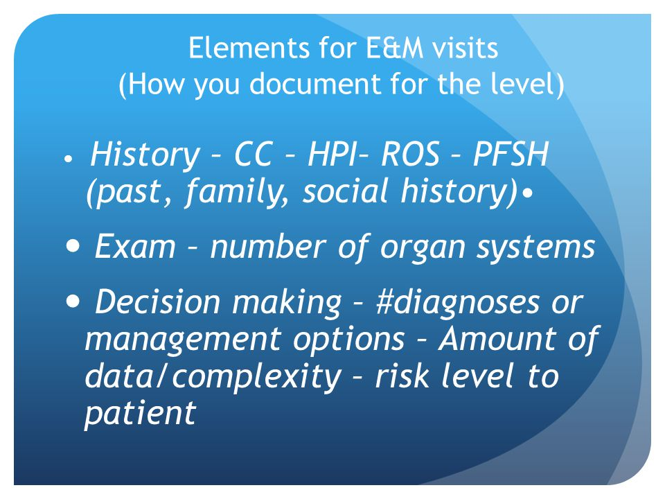 Elements for E&M visits (How you document for the level)