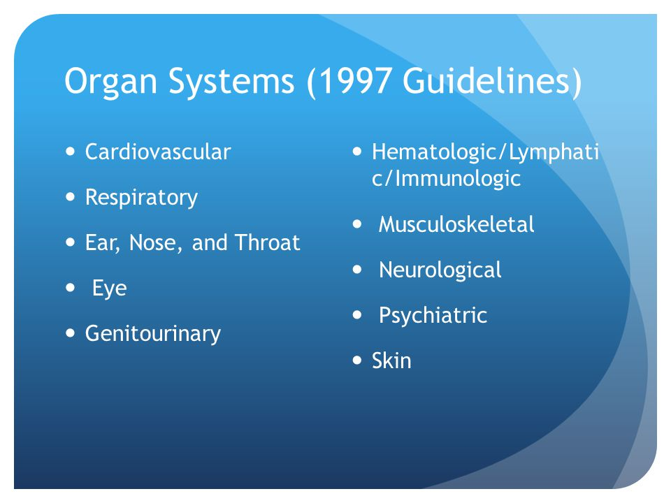 Organ Systems (1997 Guidelines)