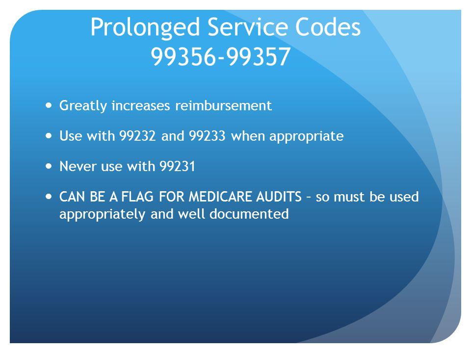 Prolonged Service Codes 99356-99357