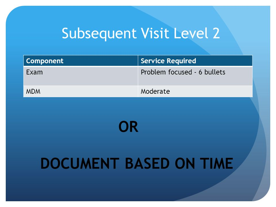 Subsequent Visit Level 2