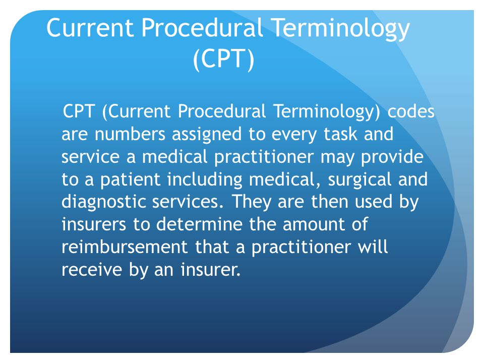 Current Procedural Terminology (CPT)