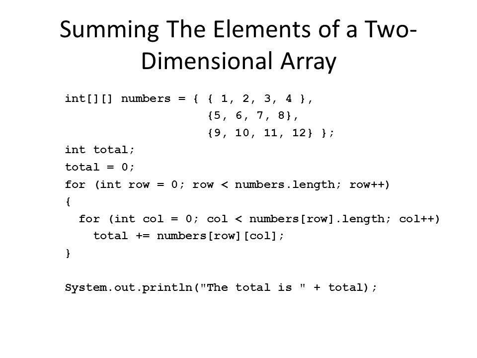 Summing The Elements of a Two-Dimensional Array