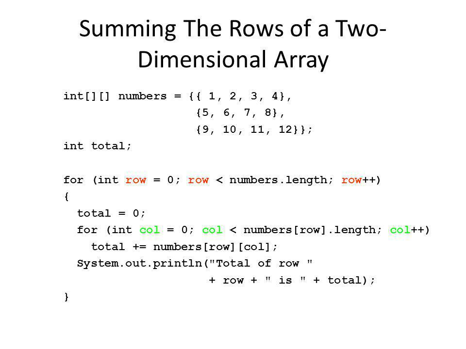 Summing The Rows of a Two-Dimensional Array