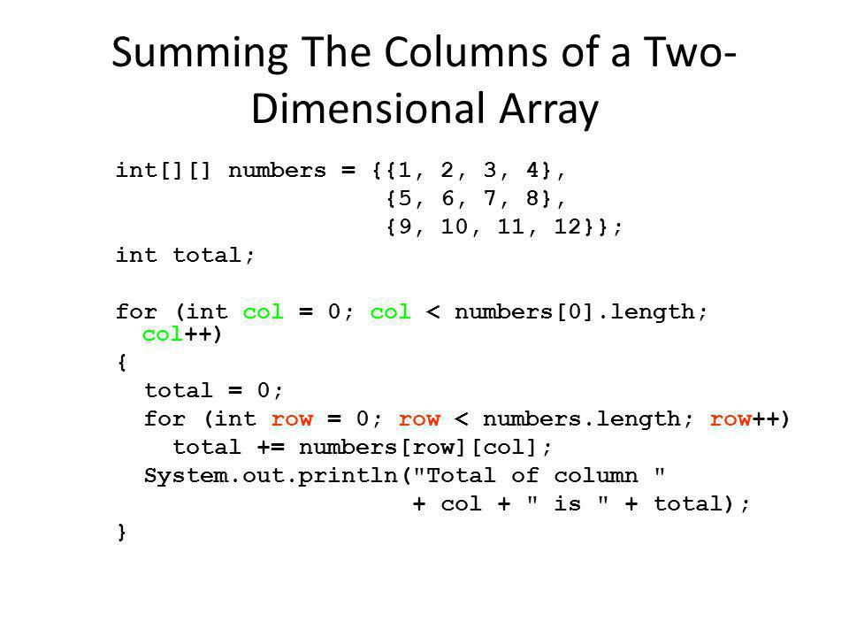 Summing The Columns of a Two-Dimensional Array
